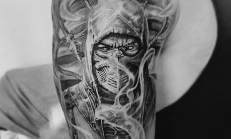 Scorpion tattoo mortal combat realistic tatoeage design arm