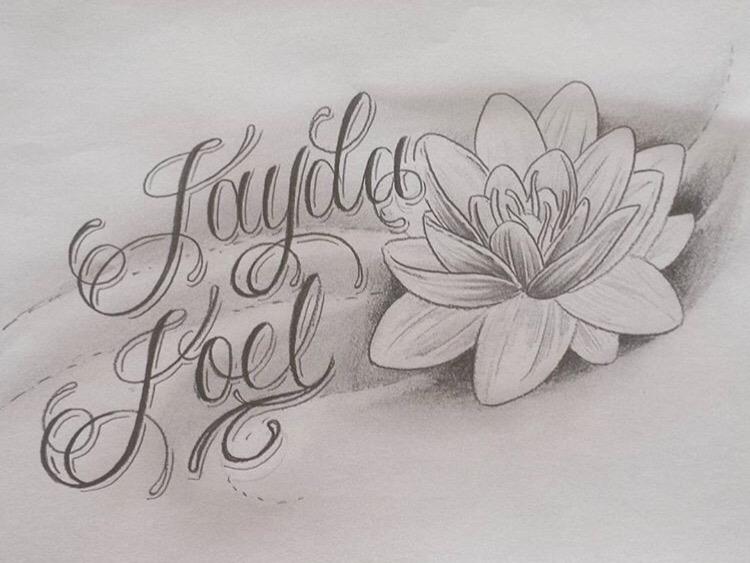 Jayda joel script tattoo design ontwerp tekst tekening art